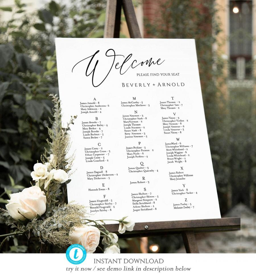 زفاف - Alphabetical seating chart, Wedding Seating Chart Template, Table Arrangement, Seating Plan, seating chart 3 sizes templett, SCA-09