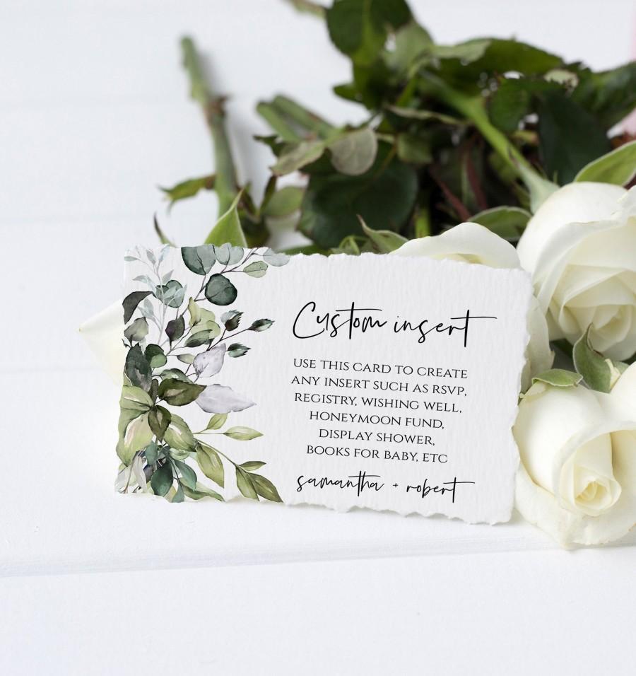 زفاف - Greenery Enclosure Card Template, Printable Insert Card, Editable for Wishing Well, Book Request, Event Details, RSVP, Eucalyptus, DIY, FPE