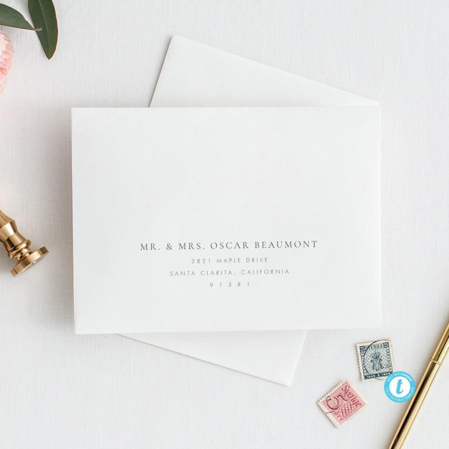 Свадьба - Elegant Envelope Template Printable Wedding Envelope Templett address template Instant Download, DIY envelope Editable address label 14