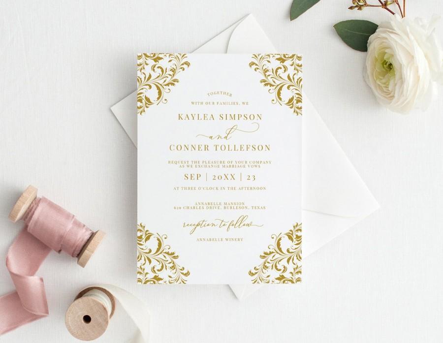 Hochzeit - Elegant Winter Holiday Wedding Invitation Template