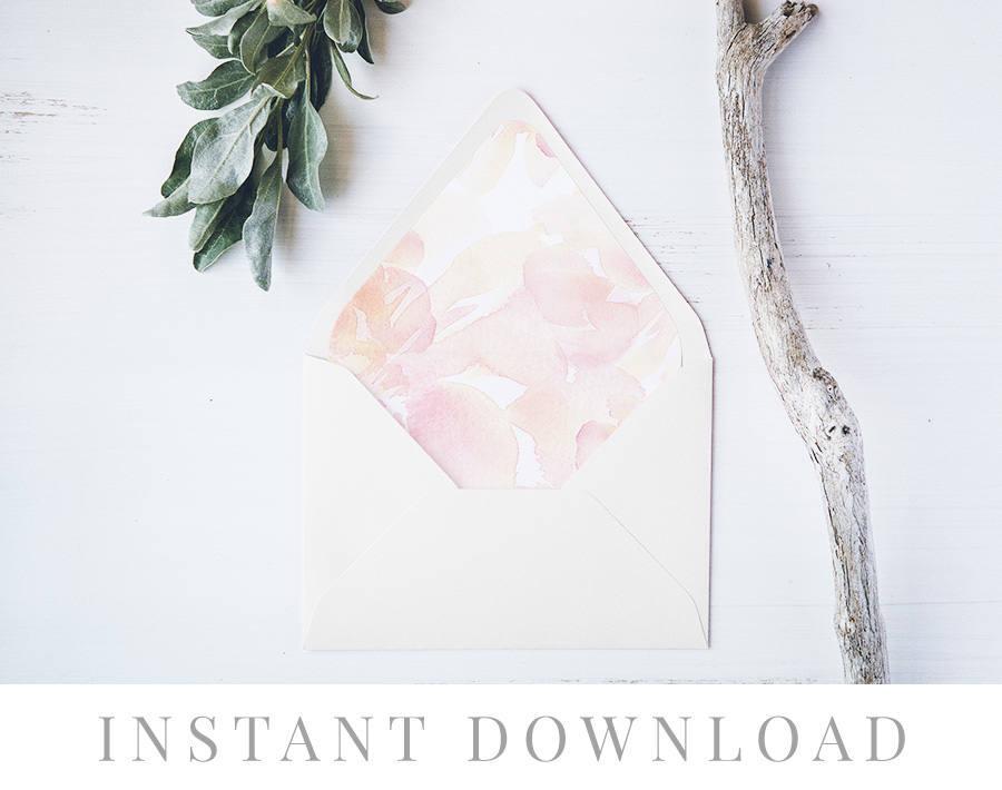 Wedding - Printable Envelope Liner INSTANT DOWNLOAD, 11 Sizes, Liner template, Envelope Liners, DIY Envelope Liner, A7 Liner, Square, Euro, Sherbert