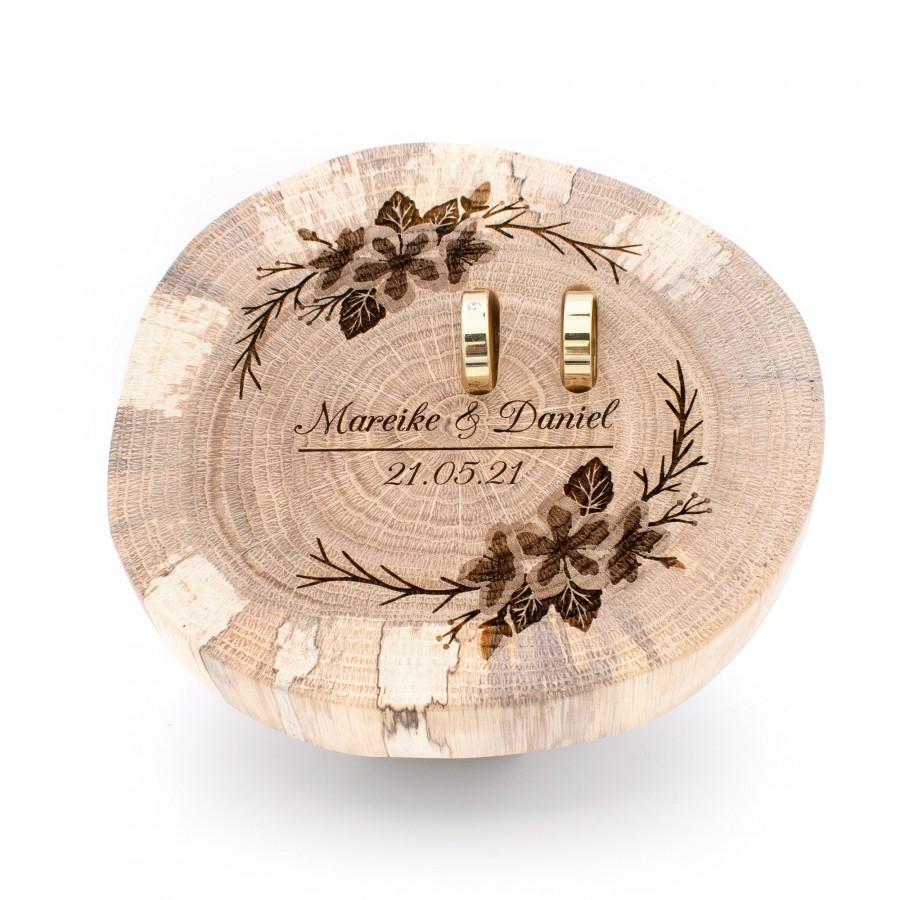 زفاف - Ring pillow wood for wedding, cherry blossom