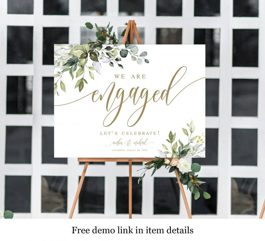 Свадьба - Greenery Gold Engagement Sign, Edit With Templett, Fully Editable Template, Welcome Printable, Party Poster, Instant Download, Boho DIY #c61