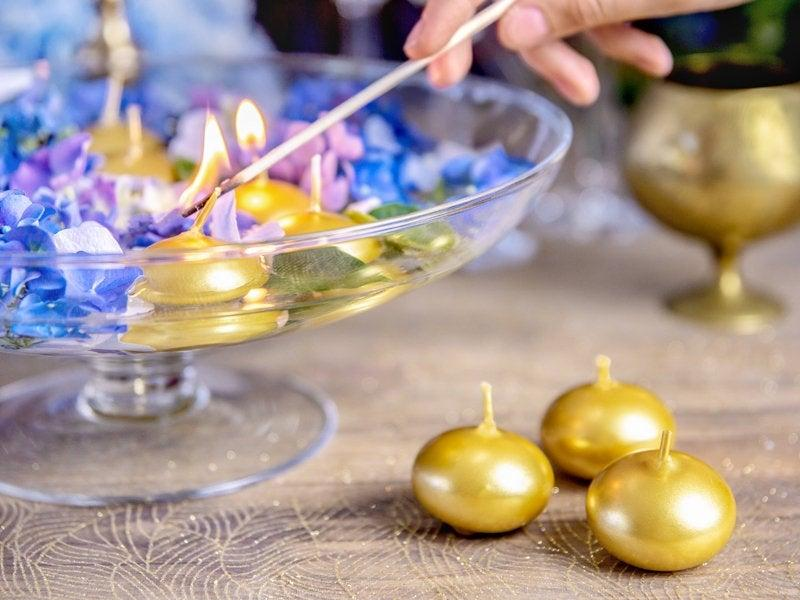Mariage - 3 Gold Floating Candles, Gold Wedding Candle, Gold Decorations, Table Candles, Party Decorations, Gold Party Decorations