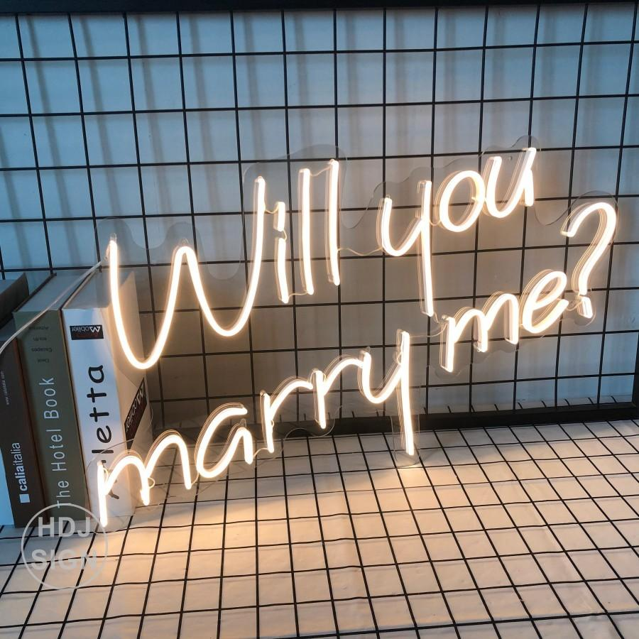 Mariage - Custom Neon Sign Will You Marry Me Led Neon Sign Visual Art Wedding Party Room Wall Hanging Flexible Home Decor Gift For her