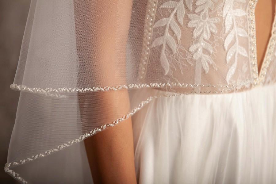 زفاف - Beaded wedding veil, blusher veil comb, fingertip veil, pearl veil