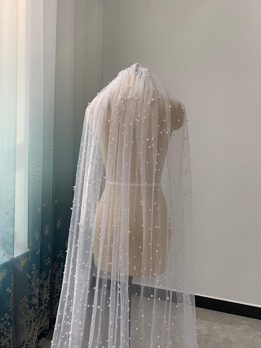 Hochzeit - Scattered Pearl Wedding Veil One Layer White Or Ivory Tulle Veil Cathedral Length Wedding Veil Bridal Headpiece