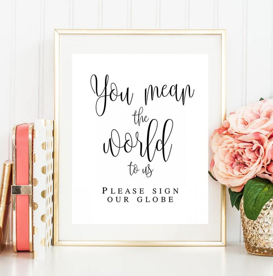 Свадьба - You mean the world to us sign You mean the world to us guestbook Please sign our globe Wedding decor Travel wedding guest book sign #vm41