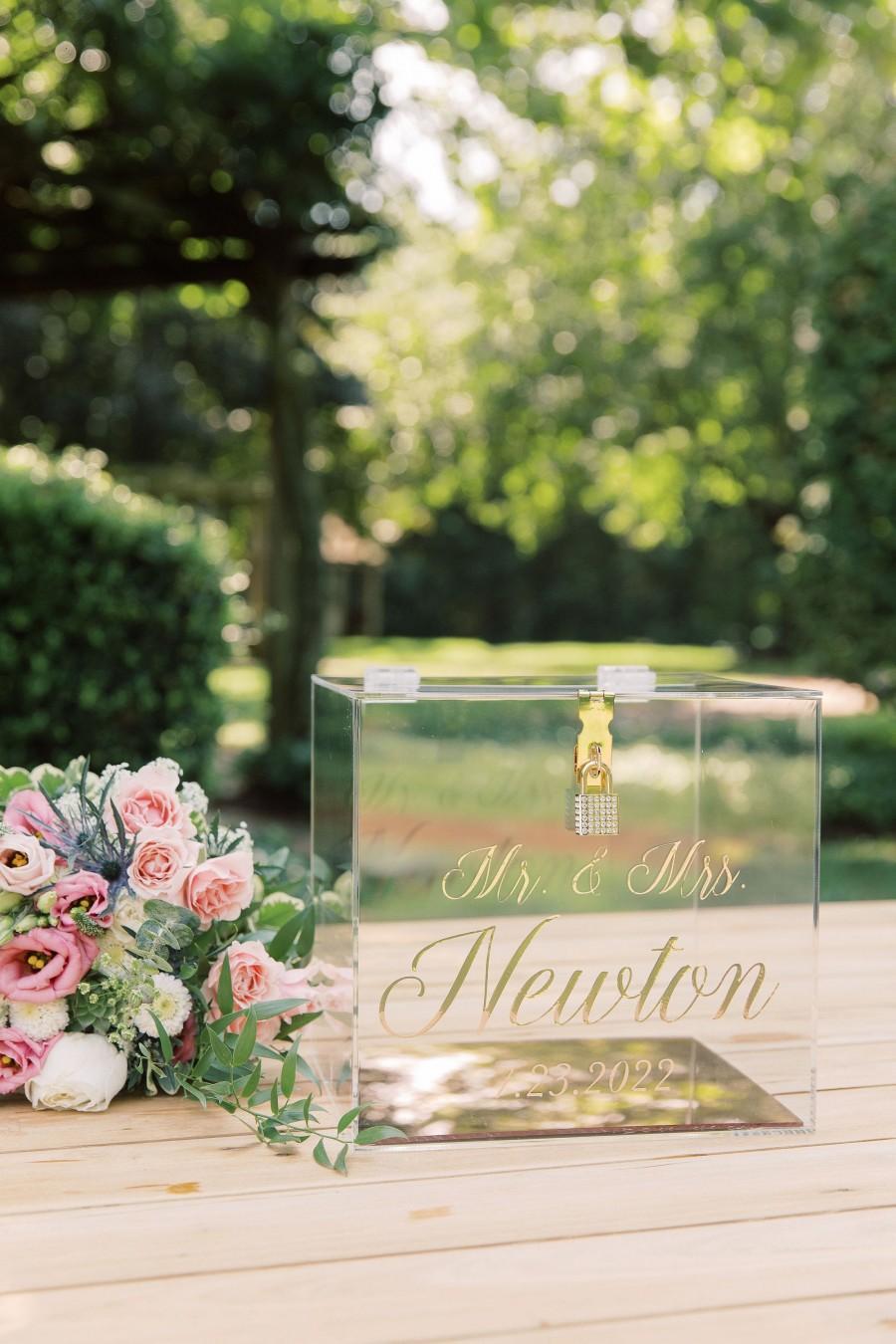 زفاف - Mirror Bottom Acrylic Card Box with Lock and Key I Personalized Wedding Card Box with Lock