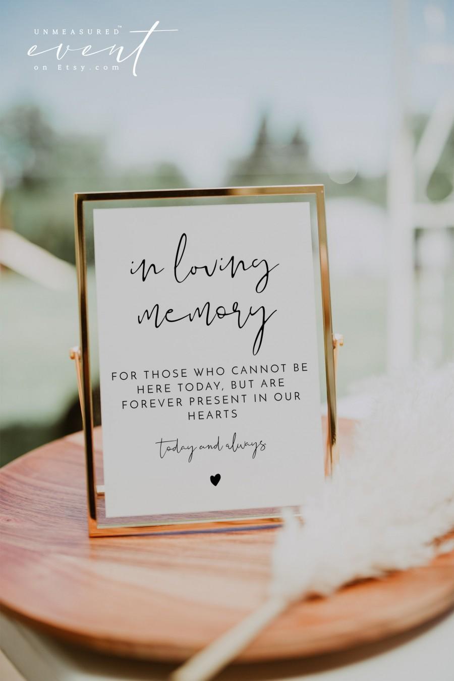 Hochzeit - ADELLA In Loving Memory Sign, Printable In Loving Memory Sign for Wedding, Memorial Sign, In Memory Sign Modern Minimalist EDITABLE DIY