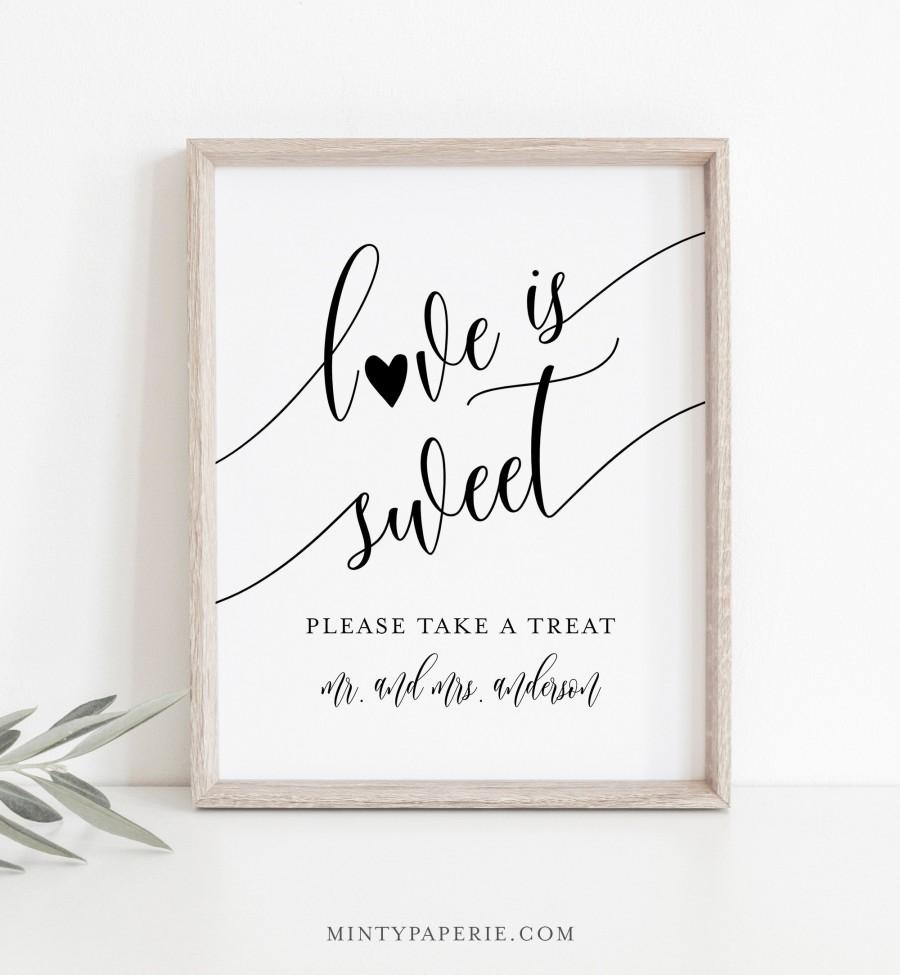 Wedding - Love Is Sweet Sign, Minimalist Wedding Favors Sign Template, Take A Treat, Printable Favors Card, Instant Download, Templett, 8x10 #008-15S
