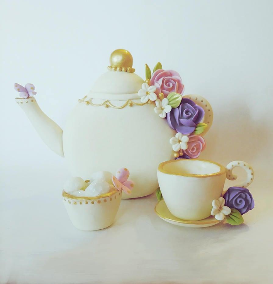 Mariage - Tea party cake topper, tea party baby shower, tea party bridal shower, Tea party decoration, tea pot and tea cup set, Garden baby shower