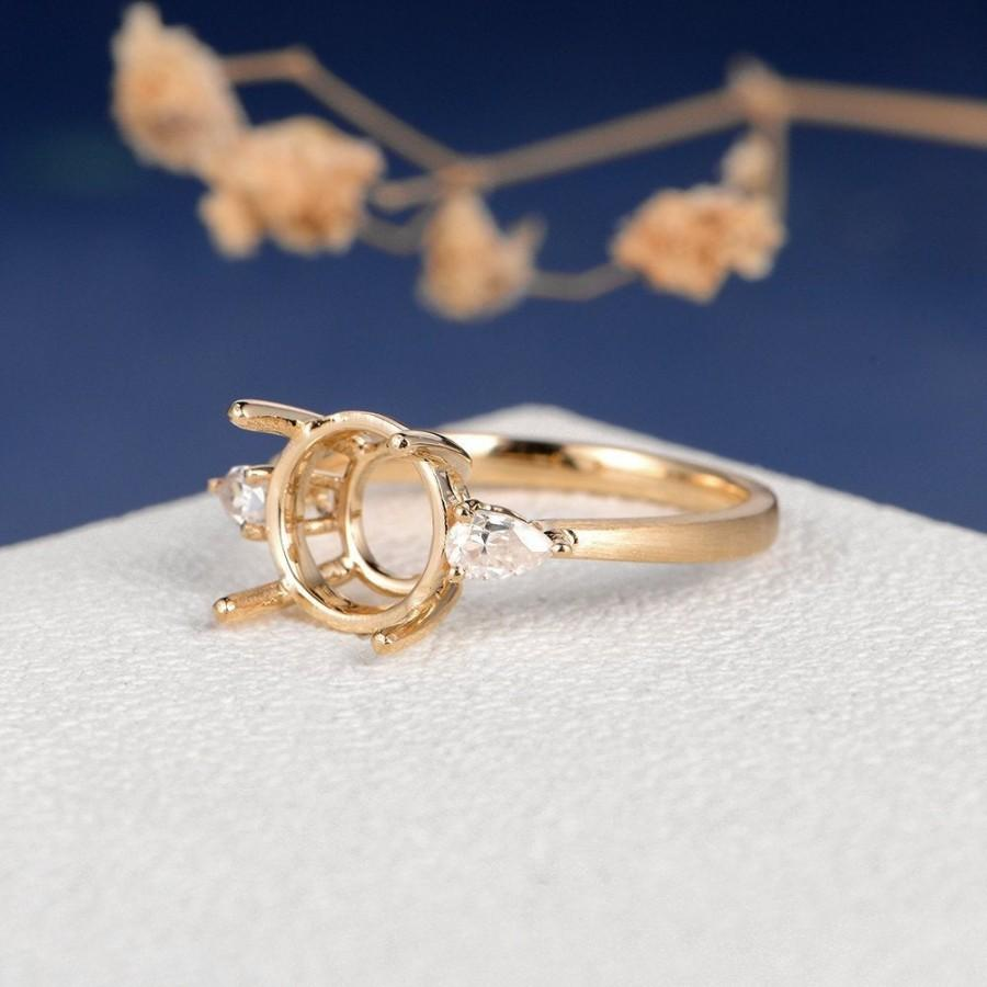 Wedding - Custom Engagement Ring Setting Pear Cut Moissanite Setting Diamond Setting Semi Mount Personalize Yellow Gold Three Stone Ring Vintage Matte