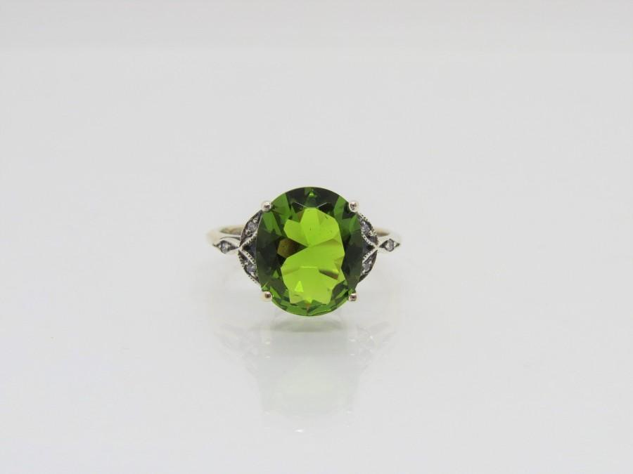Mariage - Vintage Sterling Silver Oval Peridot & White Topaz Ring Size 9