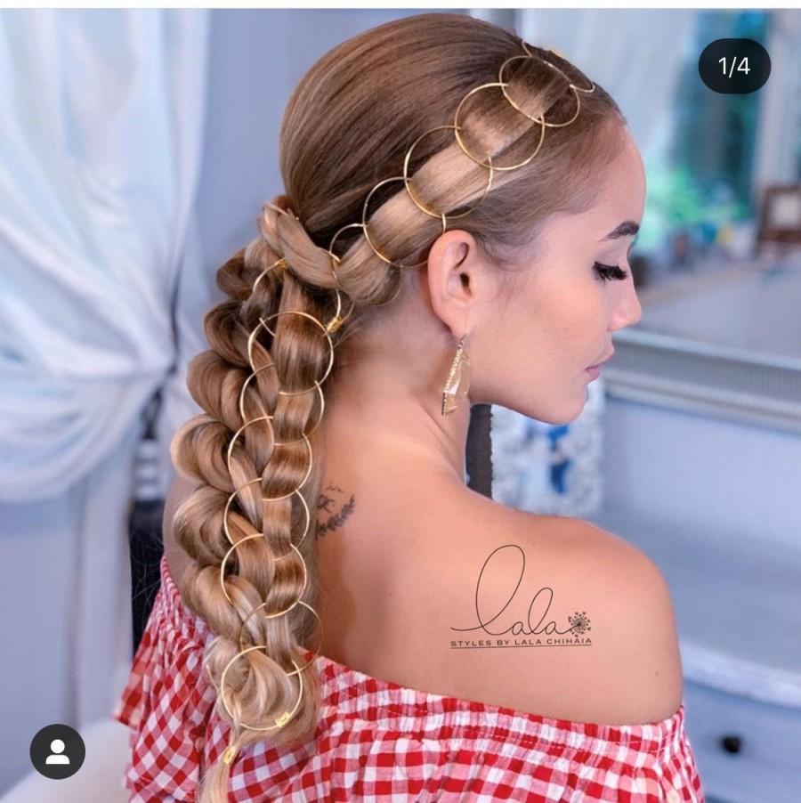 Hochzeit - Hair Braid Rings Set Hair Hoops Weddings Hair Ideas Boho Jewelry Bohemian Handmade Hair Accessories Bridal Bridesmaids Rose Gold Silver Sexy