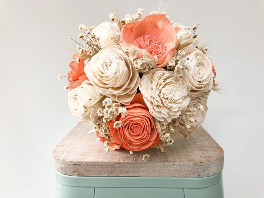 Hochzeit - Coral Star Collection- Wood Flower Bouquet Coral Bouquet Sola Wood Flower Bouquet Customizable