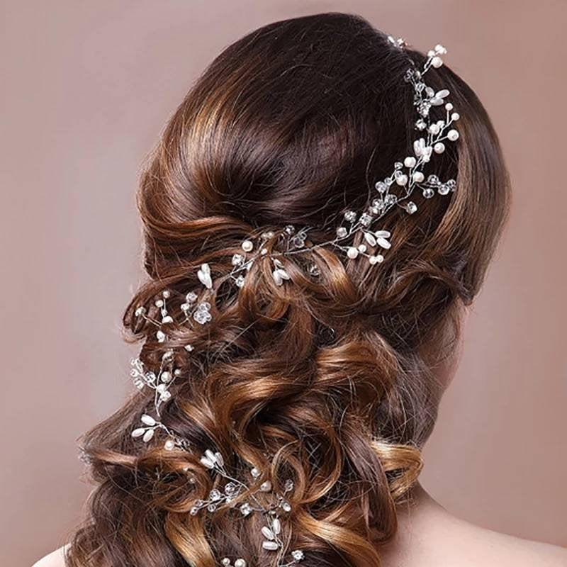 Mariage - 50cm Silver pearl and crystal hair vine for bridal hair style hair accessories hair comb pin tiara vine crown head band flower facinator