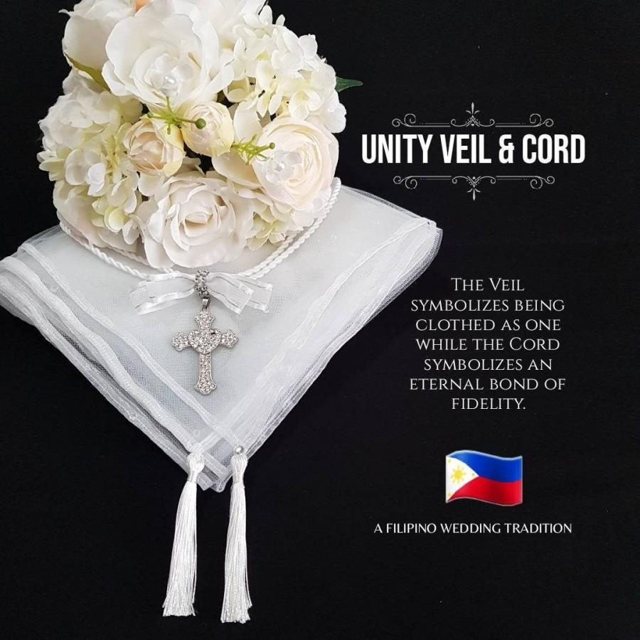 Hochzeit - Filipino Unity Veil and Cord Set, Secondary Sponsor Wedding Philippines Pinoy Tradition Belo at Cord White Lace orTulle with Bejeweled Cross