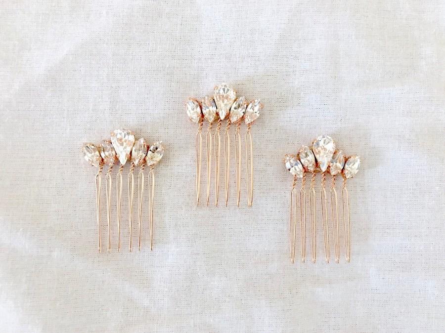 زفاف - Small Rose Gold Hair Comb for Wedding, Bridesmaid gift, Comb, dainty crystal bridal comb, HAYLEY