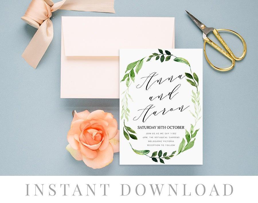 Свадьба - Rustic Wedding Invitation INSTANT DOWNLOAD, Wedding Invite, DIY Printable Invitation, Templett, Editable pdf, Green Leaves, Marsh