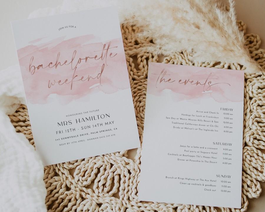 Wedding - Bachelorette Party Invitations, Bachelorette Weekend Template, Bachelorette Weekend Itinerary, Pink Rose Gold Bachelorette Itinerary, Hens