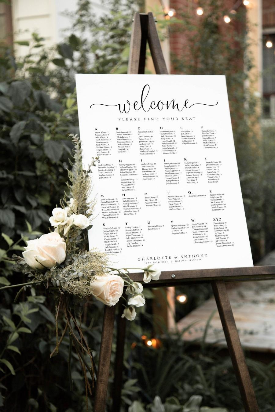 Свадьба - Script Seating chart, Wedding Seating Chart, Alphabetical Seating Chart, Wedding Poster, Edit with TEMPLETT, WLP-FAN 4208
