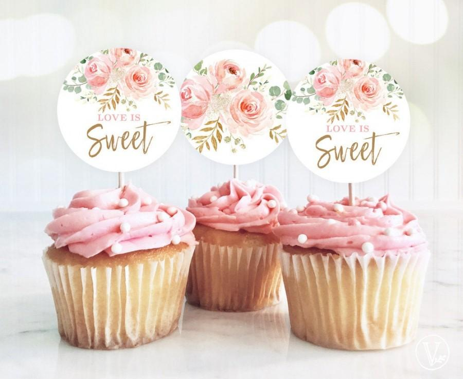 Wedding - Love is Sweet Cupcake Toppers, Printable Bridal Shower Cupcake Toppers, 2-inch, Blush Pink Floral, VWC95