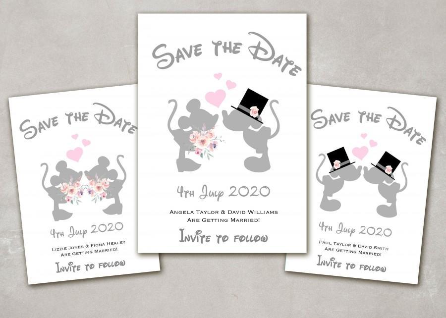 زفاف - 10 x Personalised Disney Minnie & Mickey Mouse kissing Wedding, Mr and Mrs, Mr and Mr, Mrs and Mrs Save the Date Cards with Envelopes