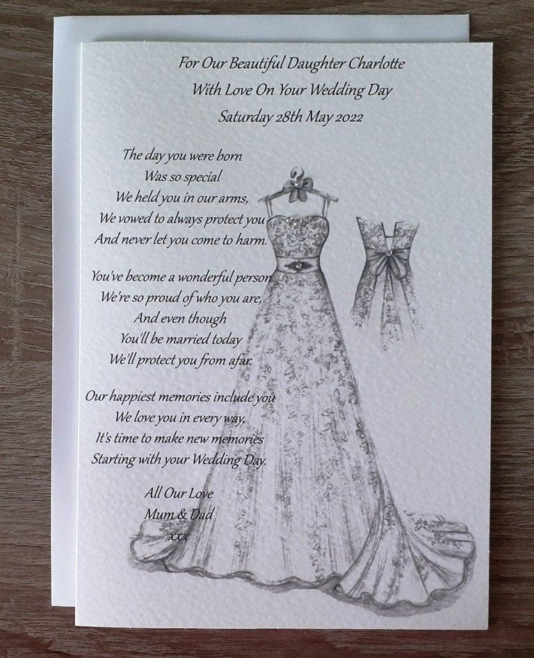 Свадьба - Handmade Personalised A5 To Daughter On Her Wedding Day Card Hand Drawn Design (C500)