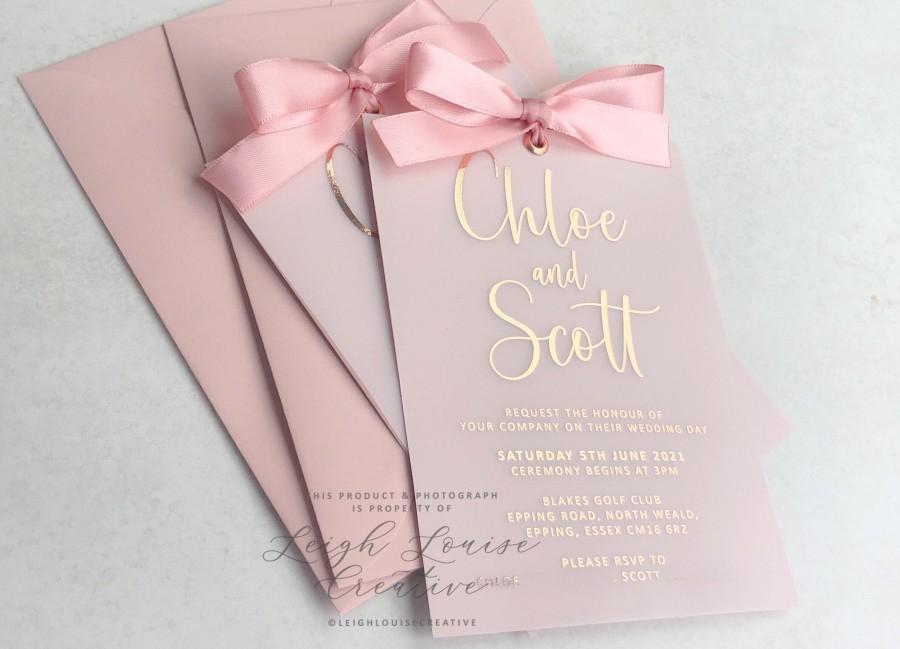 زفاف - VELLUM & FOIL wedding invitation set. Classic invitation and rsvp card design, ribboned with a bow and matching cards