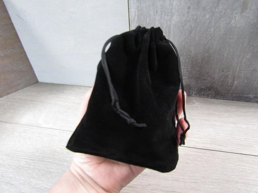 Wedding - Black Felt Gift Gemstone Pouch 4.8 x 5.9 Inches Q50