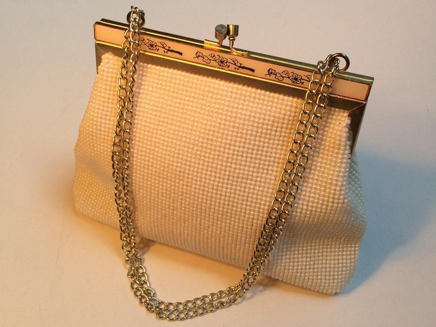 Wedding - Vintage Wedding Purse, Pearl Bag, Beaded Bridal Purse, Vintage Evening Bag