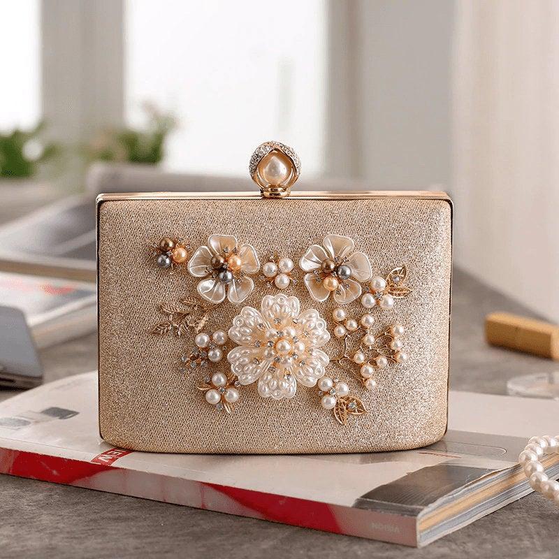 Hochzeit - Pearl Clutch,Beaded Clutch,Evening Bag,Wedding Clutch,Bridal Clutch,Gold Clutch,Silver Clutch,Luxury Clutch,Vintage Clutch,Baroque Clutch