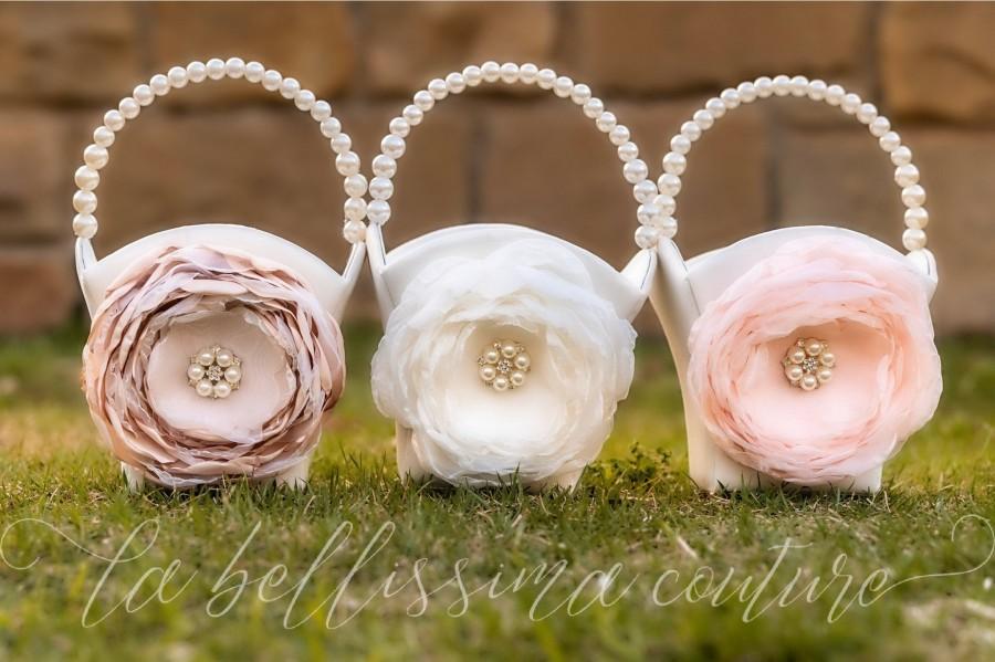 Mariage - Flower Girl Basket, Ivory Flower Girl Basket, Blush Flower Girl Basket, Champagne Flower Girl Basket, Flower Girl Gift, Flower Girl
