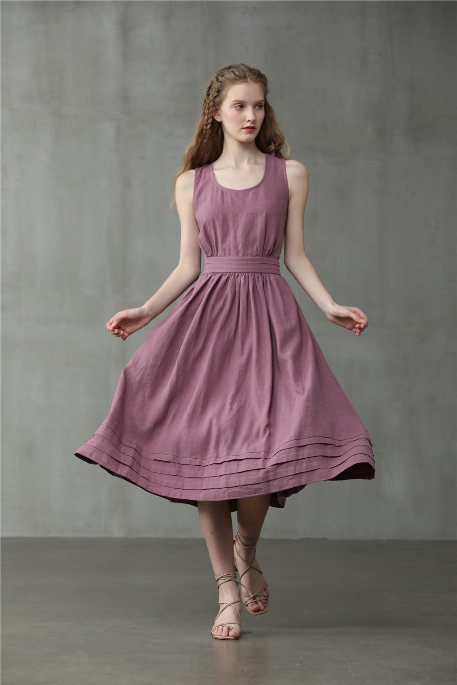 Mariage - cross back linen dress, midi linen dress, cocktail dress, sleeveless dress, wedding dress