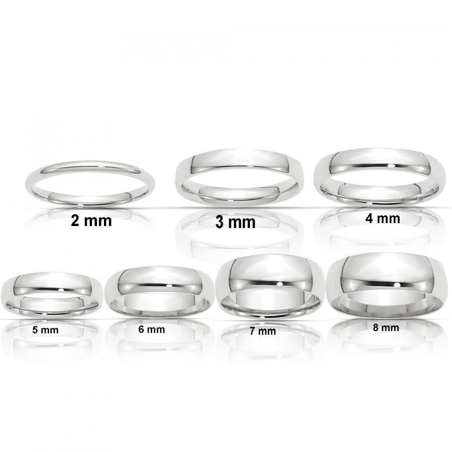 Wedding - REAL Comfort Fit 14K Solid White Gold 2mm 3mm 4mm 5mm 6mm 8mm Men's and Women's Wedding Band Midi Thumb Toe Ring Sizes 4-14. Solid 14k Gold