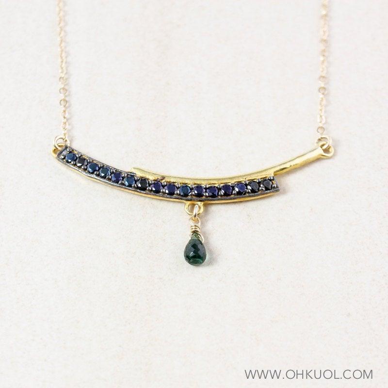 Wedding - Gold Black Spinel Bar Necklace, Green Tourmaline, Bar Pendant