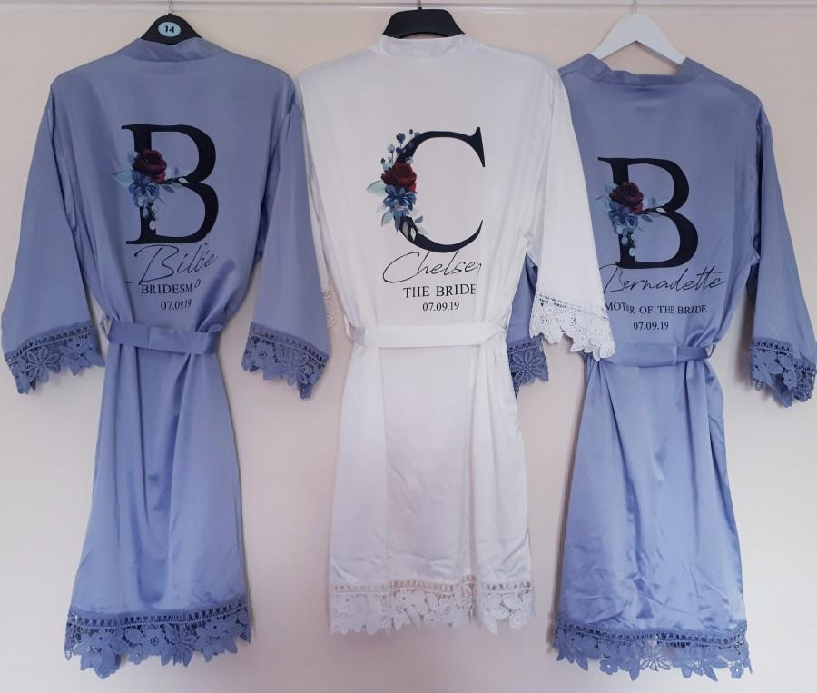 Mariage - Personalised Bridesmaid Robes, Lace Bridesmaid Robes, Bridesmaid Gifts, Bridal Robe, Bridal Party Robes, Bride Robe, Cotton Robe, Lace Robe