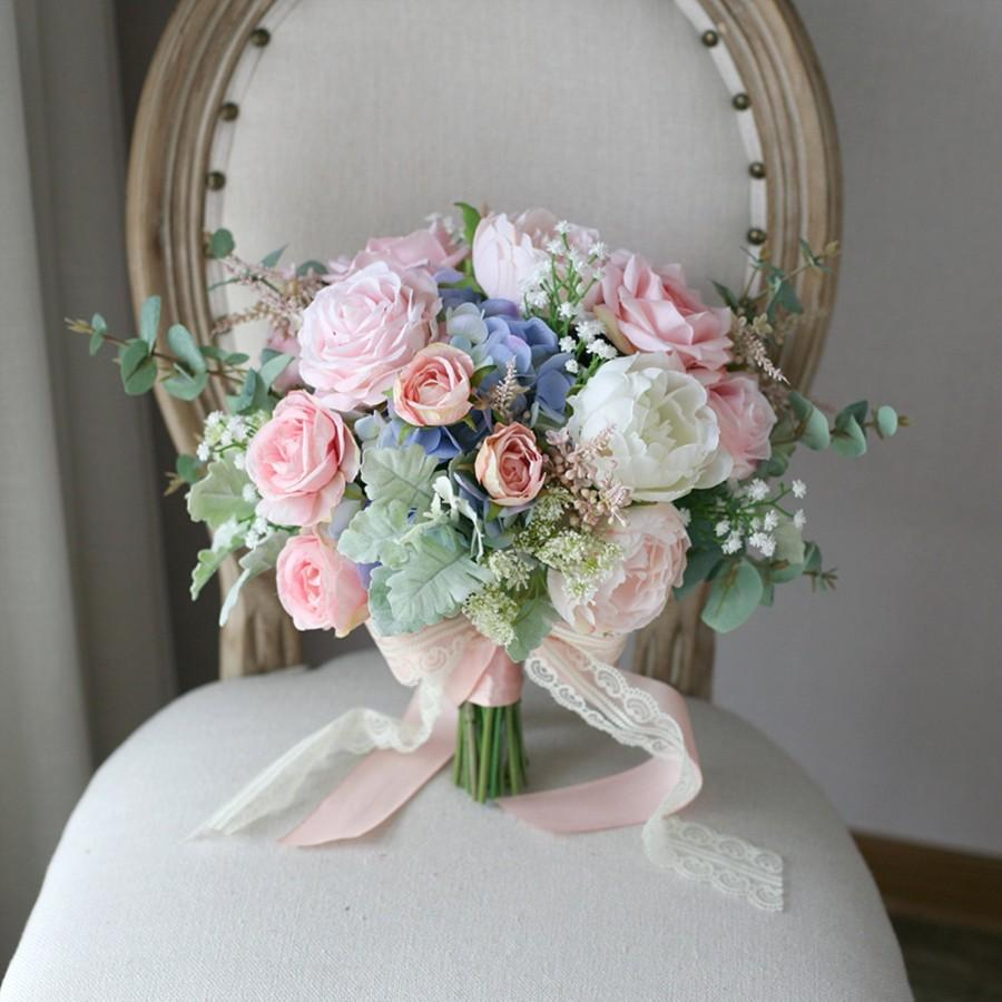 Wedding - Bridal Bouquet,Blush Pink and Pale Blue Classic Wedding Bouquet, Rustic Boho Flower Bouquet,  Design in Rose Peony and Hydrangea