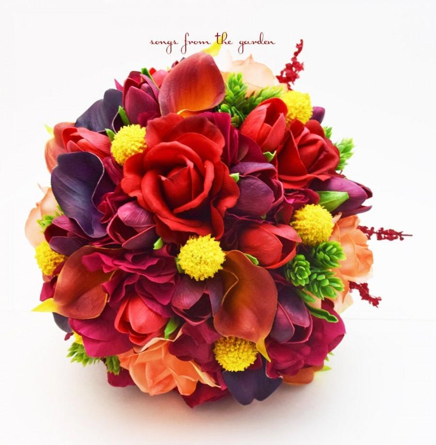 Mariage - Plum Red Orange Bridal Bouquet Calla Lilies Tulips Roses Groom's Boutonniere - Add Flower Crown Wedding Arch Flowers Centerpiece & More!