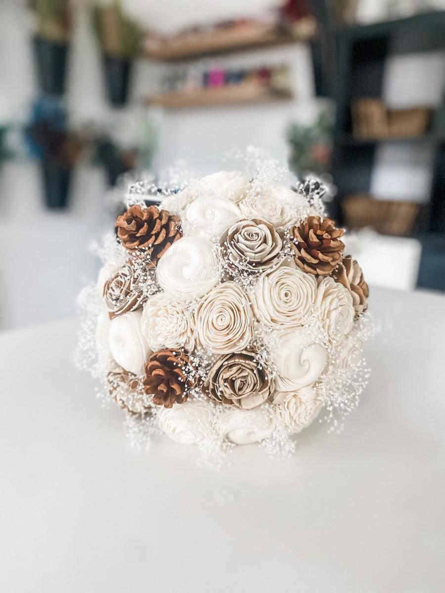 Wedding - Ivory Sola Wood Flower Bouquet with Pine Cones