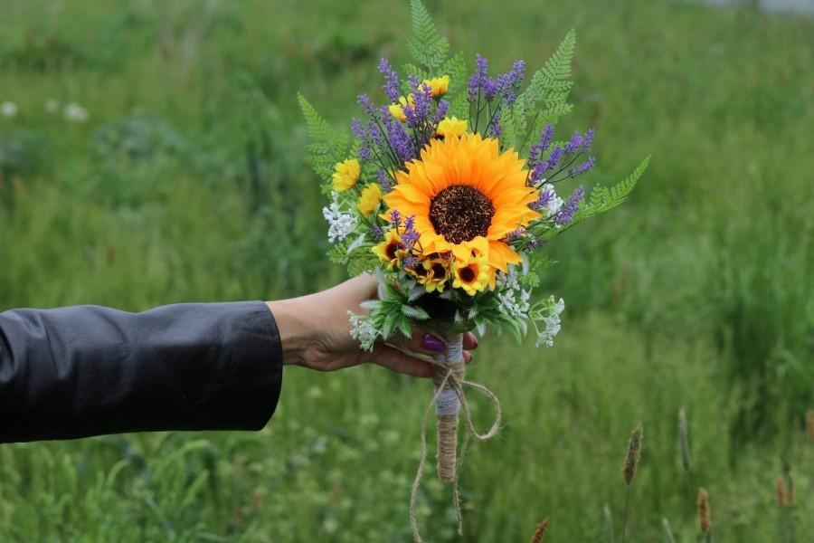 زفاف - Small bouquet sunflower wedding lavender bouquet sunflower bouquet greenery bouquet flower girl bouquet bridesmaids bouquet orange bouquet