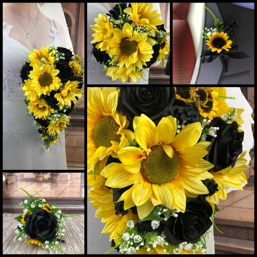 Wedding - Artificial Sunflower and Black Bridal Bouquets, Black Sunflower Bridal Flowers, Black Rose and Sunflower Bouquet,  Sunflower Wedding Flowers