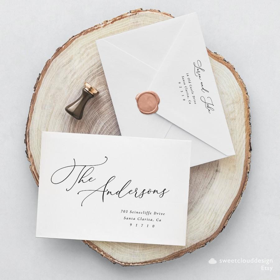 Свадьба - Minimal elegant Envelope address Template,Address label,Printable Envelope Address Template,Modern Calligraphy Wedding Editable Envelope