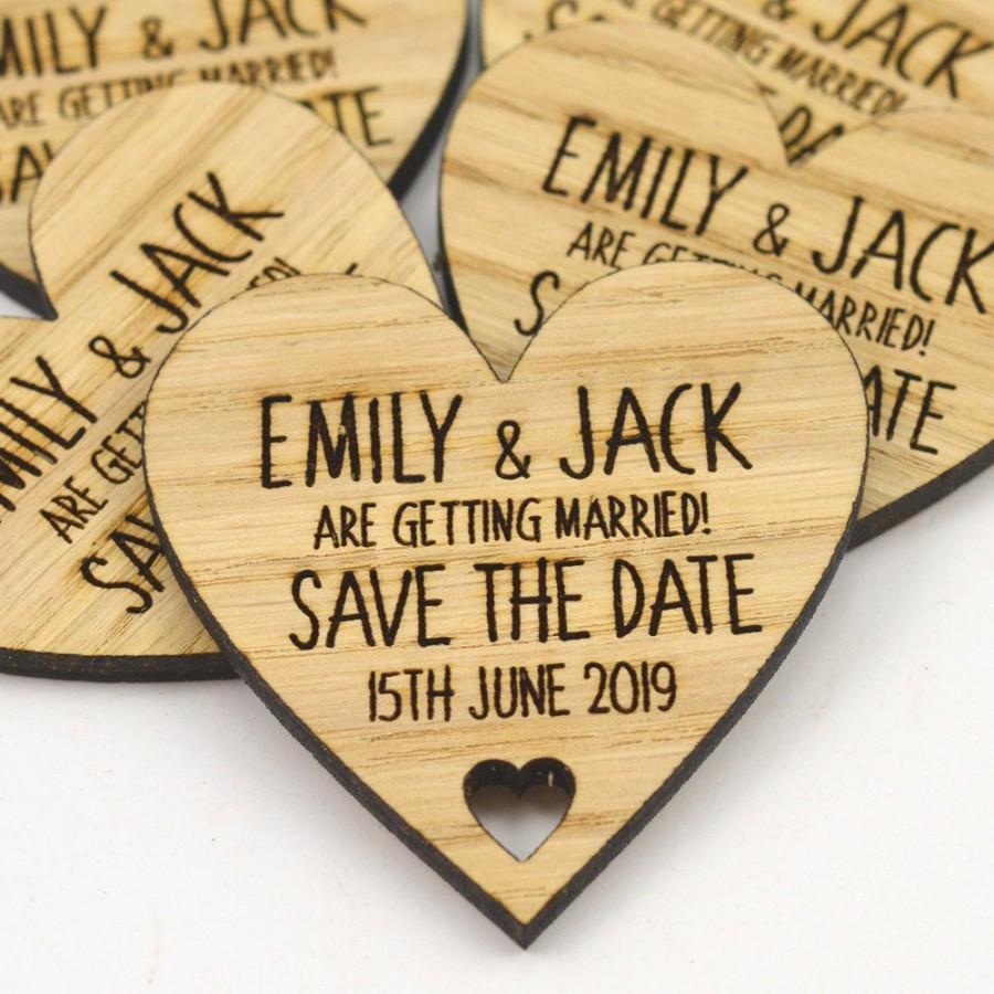زفاف - Wedding Save The Date Magnets - Personalised Wooden Heart Shaped Fridge Magnet