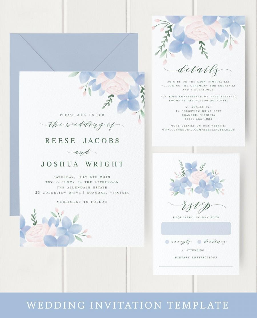 Свадьба - Floral Wedding Invitation Template Download, Hydrangea, Elegant Wedding Invitations, Dusty Blue, Pink