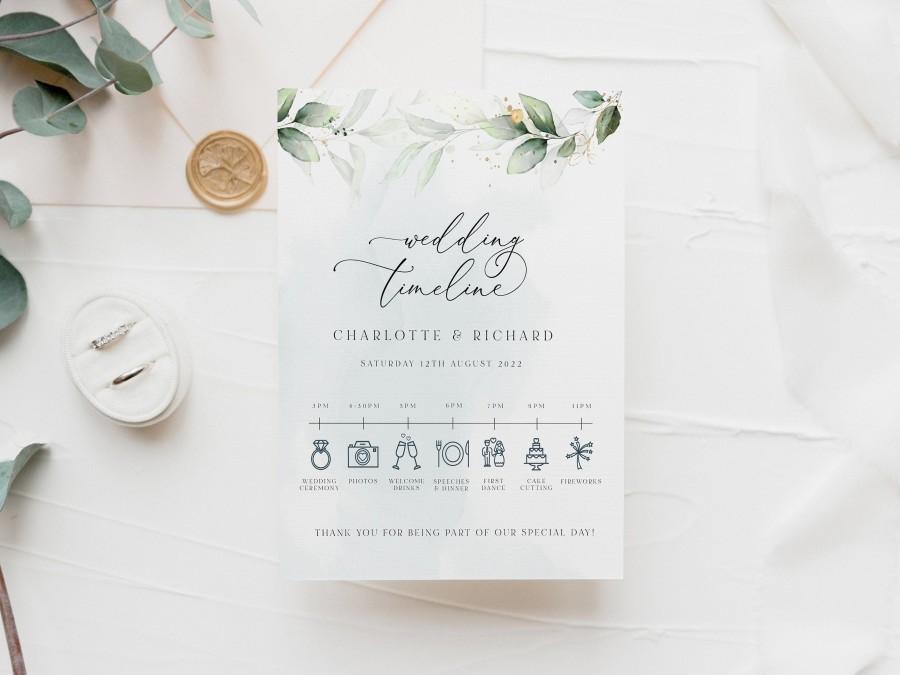 Свадьба - LAYLA - Greenery Wedding Timeline Template, Boho Eucalyptus Wedding Timeline, Instant Download Printable, Gold Watercolour Wedding timeline