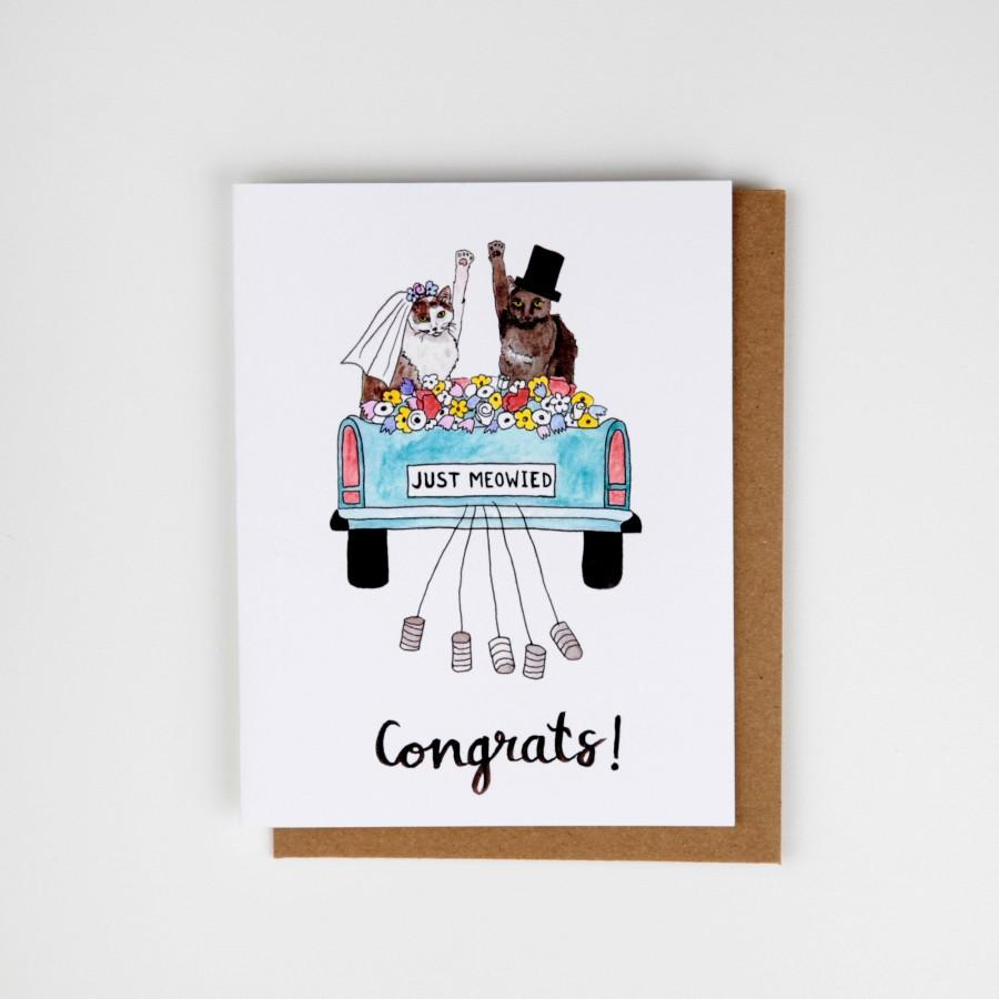 Свадьба - Just Meowied Cat Wedding Card - Handmade and printed from original ink and gouache illustration