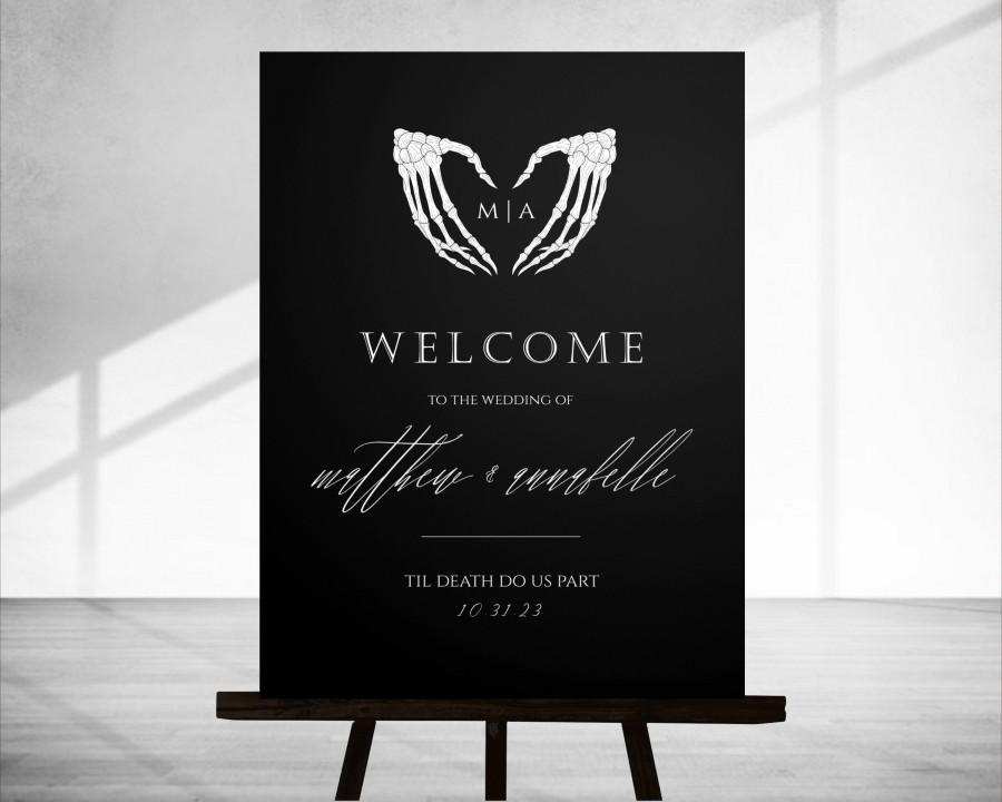 Wedding - Scylla: Halloween Wedding Welcome Sign, Gothic Halloween Wedding Sign, Skull Welcome Sign Template, Welcome Sign Instant Download, 18x24