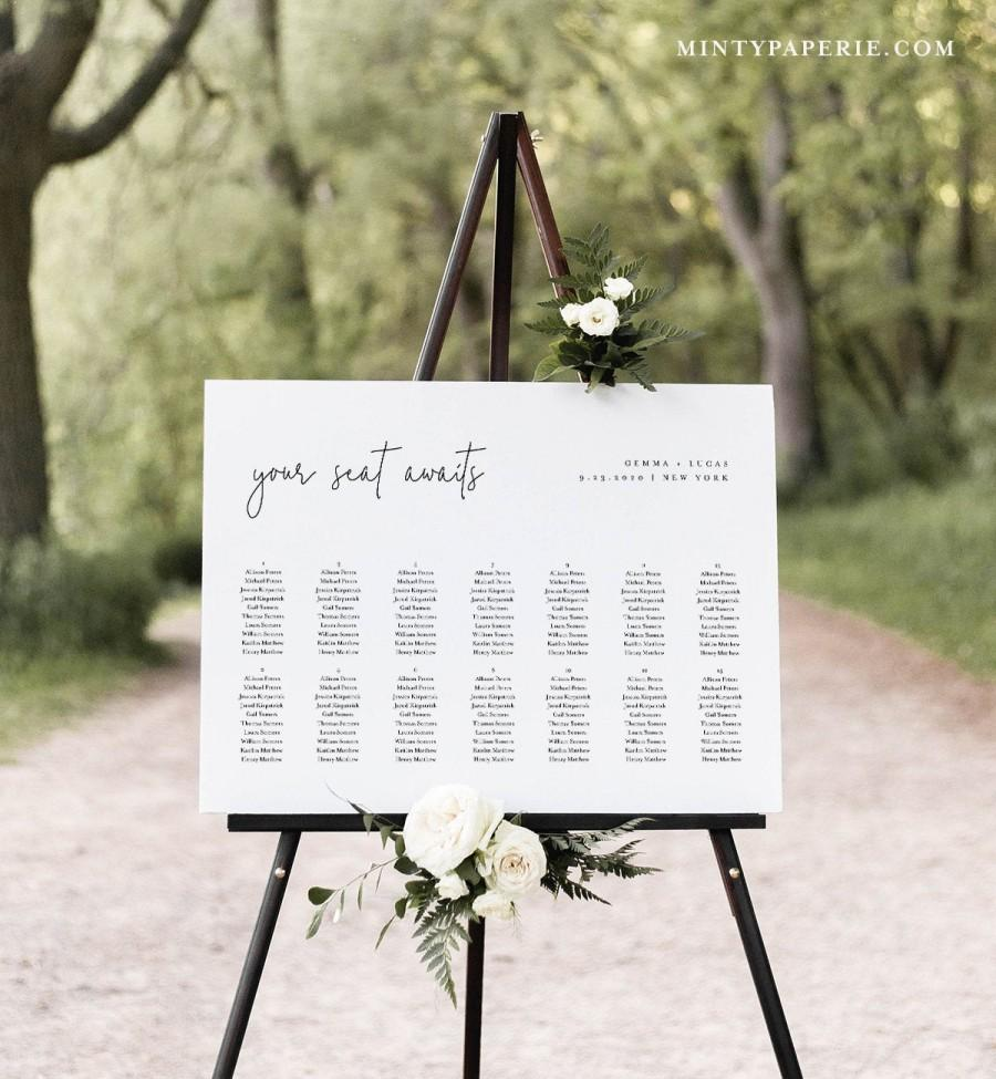 Свадьба - Minimalist Seating Chart Poster, Printable Modern Wedding Seating Sign, Instant Download, Editable Template, Templett, US & UK #095A-262SC